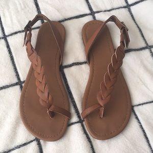 Rampage Braided Strap Flat Sandals